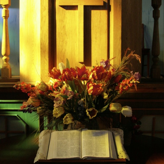 """Bible on Altar"" stock image"