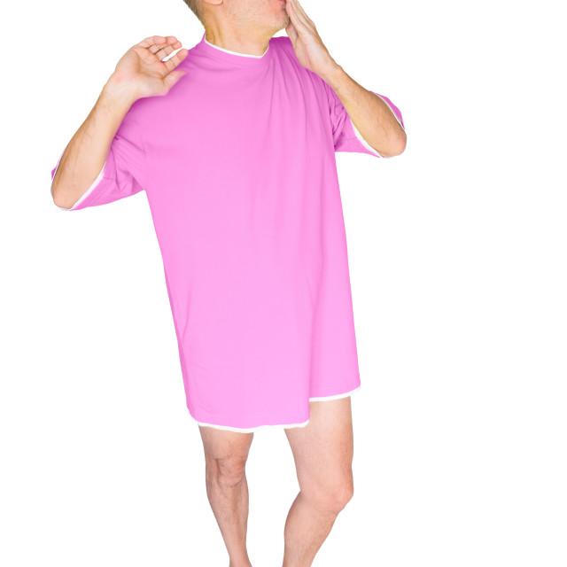 """""""Man in Pink, Yawning"""" stock image"""