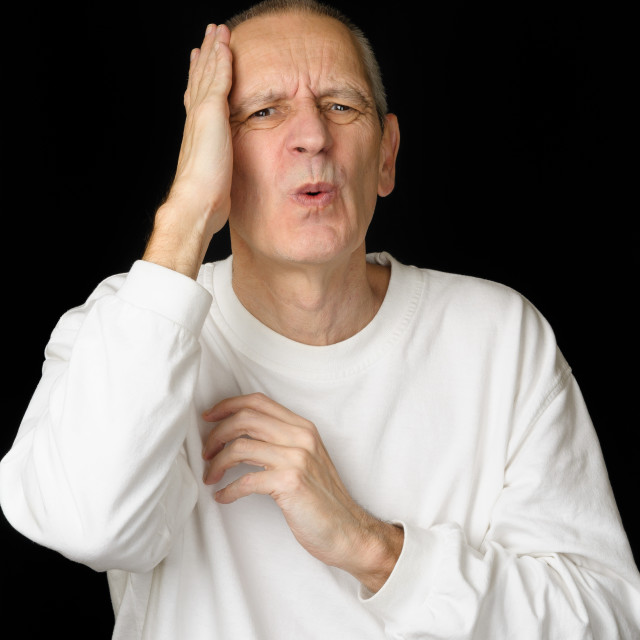 """Sick Man with headache"" stock image"