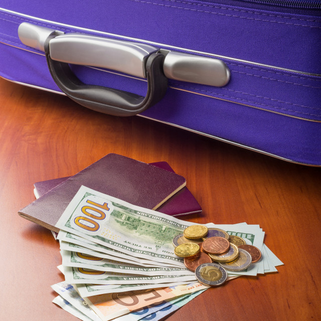 """Dollars, Euros and Passports"" stock image"