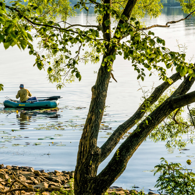 """""""Fisher on the Dnieper River"""" stock image"""