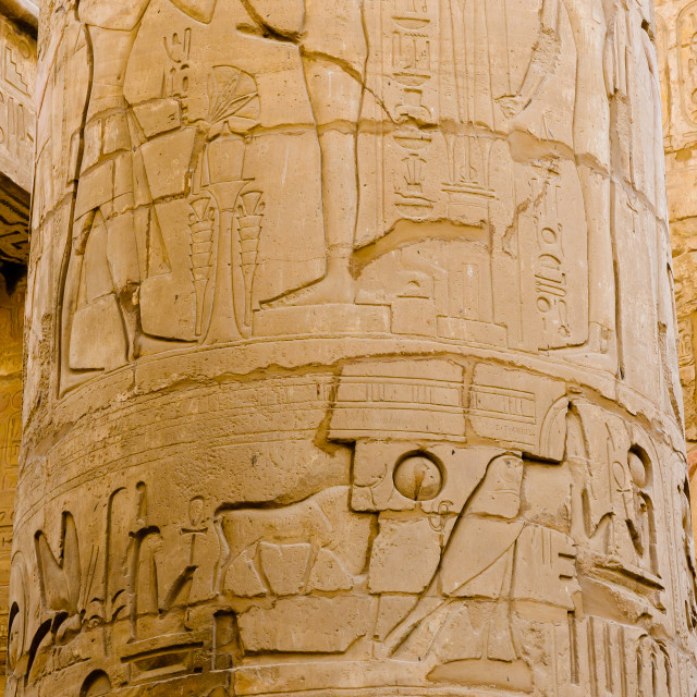 """Columns' detail in the Karnak temple in Luxor, Egypt"" stock image"