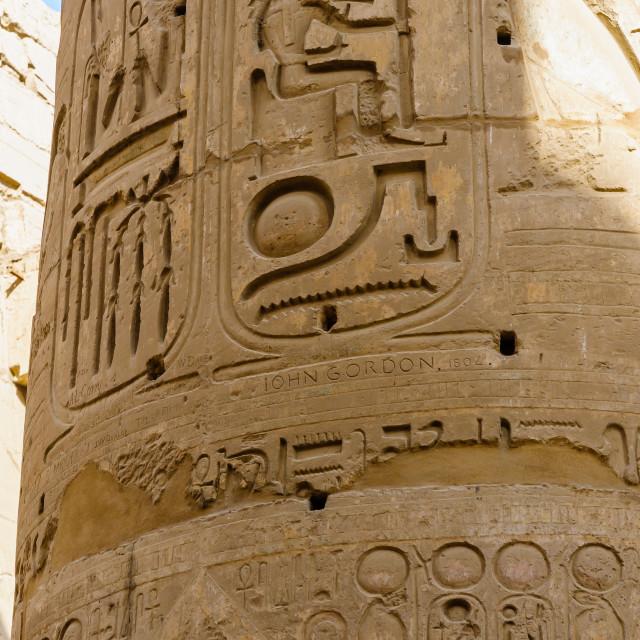 """Columns' detail in the Karnak temple in Luxor, Egypt"" stock image"