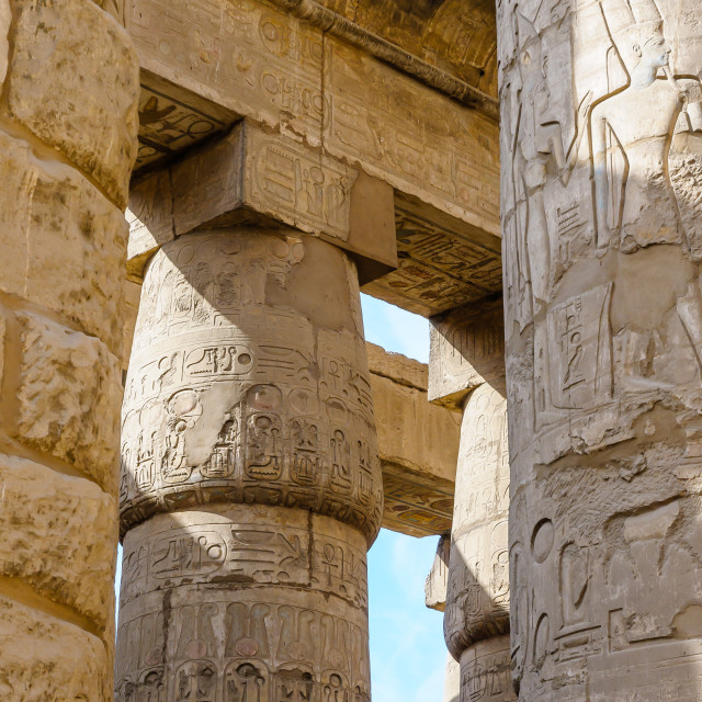 """Columns in the Karnak temple in Luxor, Egypt"" stock image"