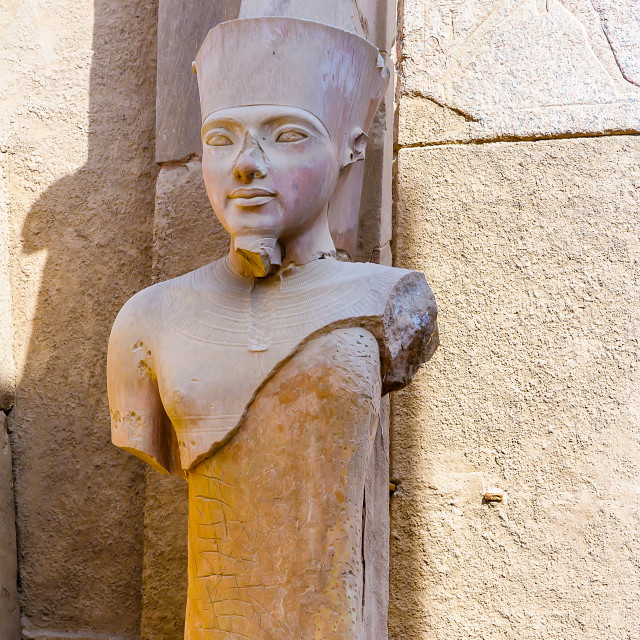 """Karnak temple in Luxor, Egypt. Statue of Amun Ra"" stock image"