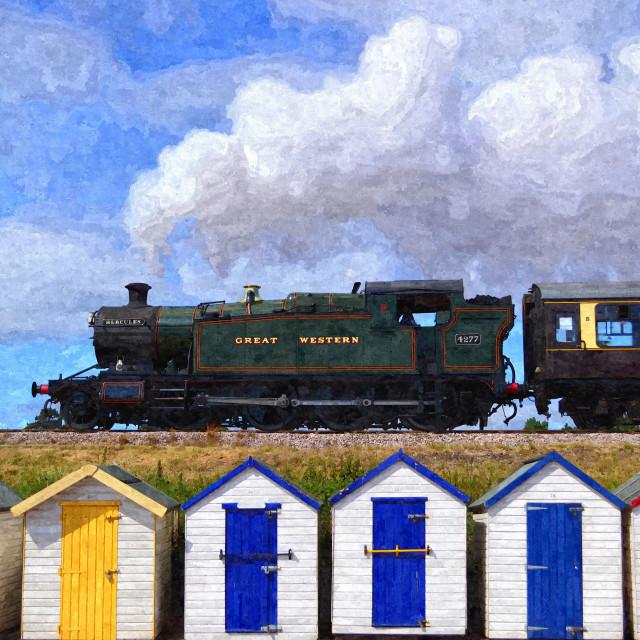 """""""Steam train above beach huts"""" stock image"""