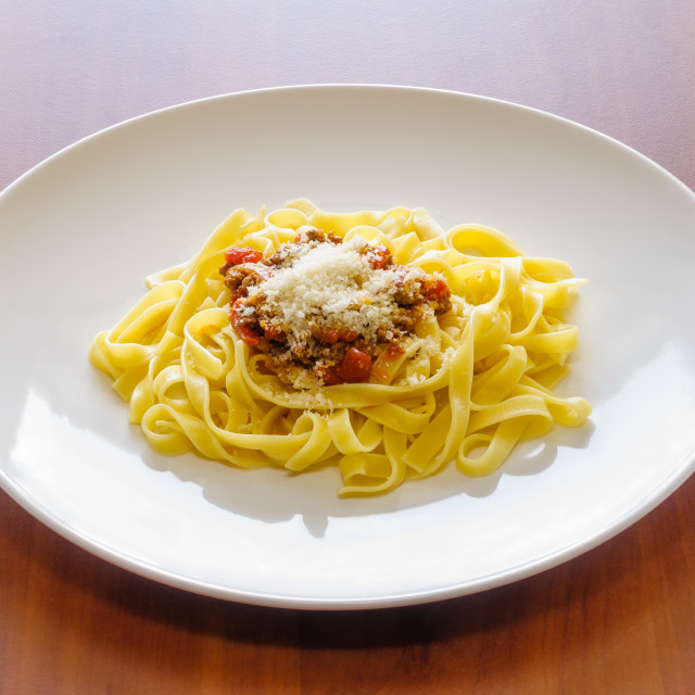 """Tagliatelle Bolognese Sauce, with parmesan"" stock image"