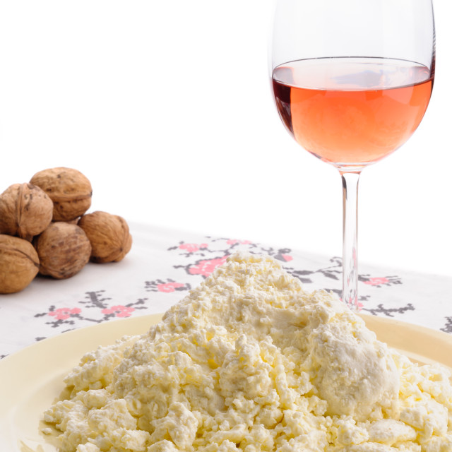 """Homemade Cheese, Wine and Walnuts"" stock image"