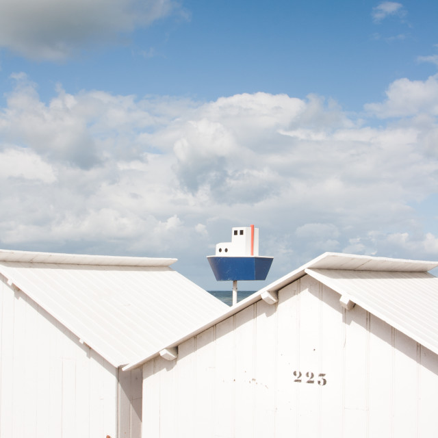 """Beach cabins in Normandy"" stock image"