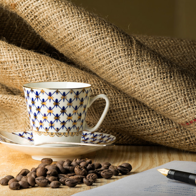 """Coffee Beans with Cup and Pen"" stock image"