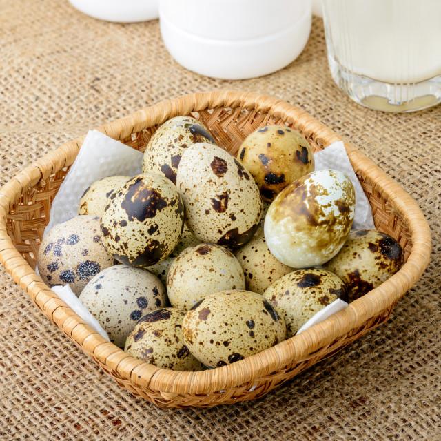 """Quail Eggs and Milk"" stock image"