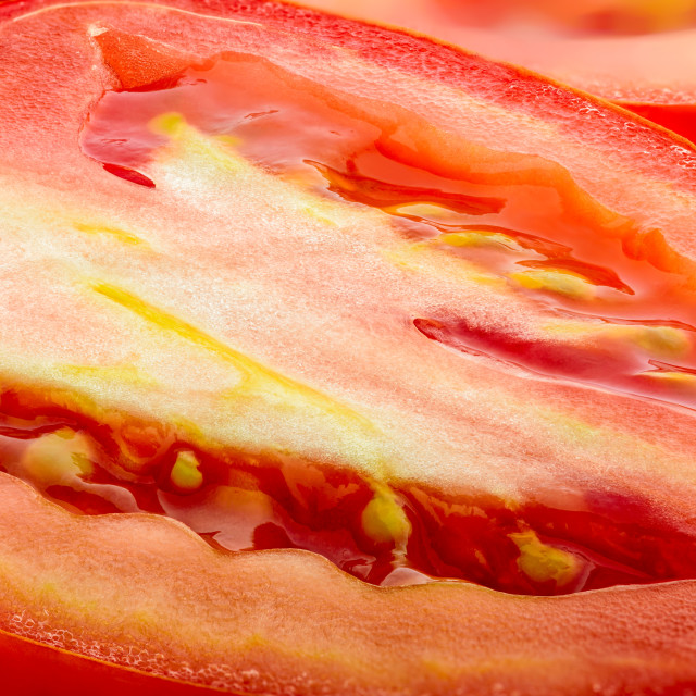 """Macro of Cut Tomato"" stock image"