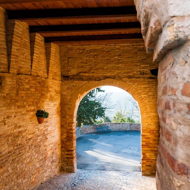 """Passing under the Gate of Montefabbri"" stock image"