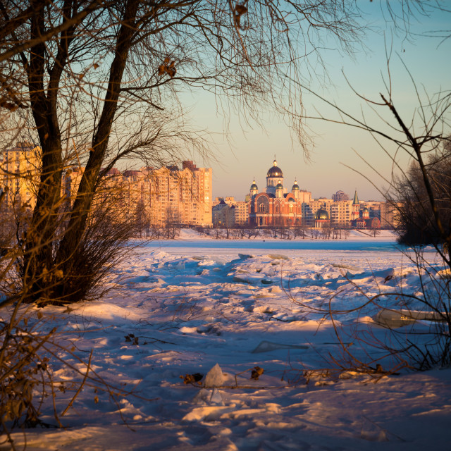 """""""Church and Frozen River"""" stock image"""