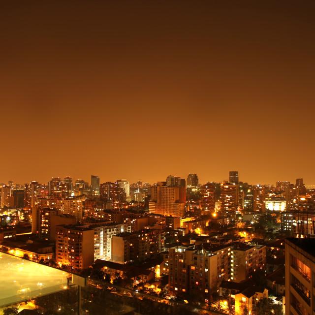"""Nightly panorama of Santiago de Chile"" stock image"