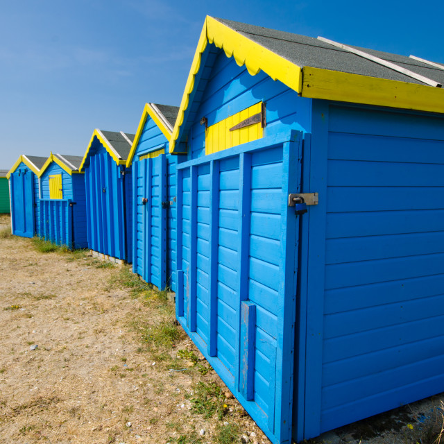 """Beach huts at Littlehampton"" stock image"