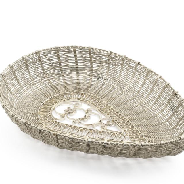 """Silver handmade filigree basket"" stock image"