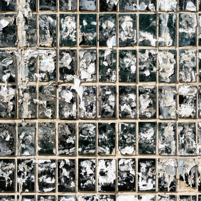 """Dirty Wall of Tiles and Paper Texture"" stock image"
