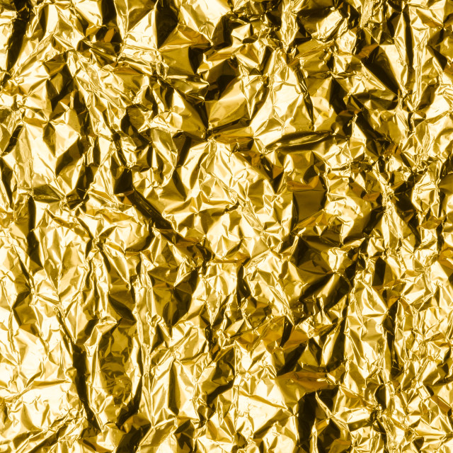 """""""Crumpled Gold Foil"""" stock image"""