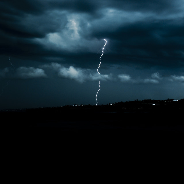 """Headland lightning strike"" stock image"