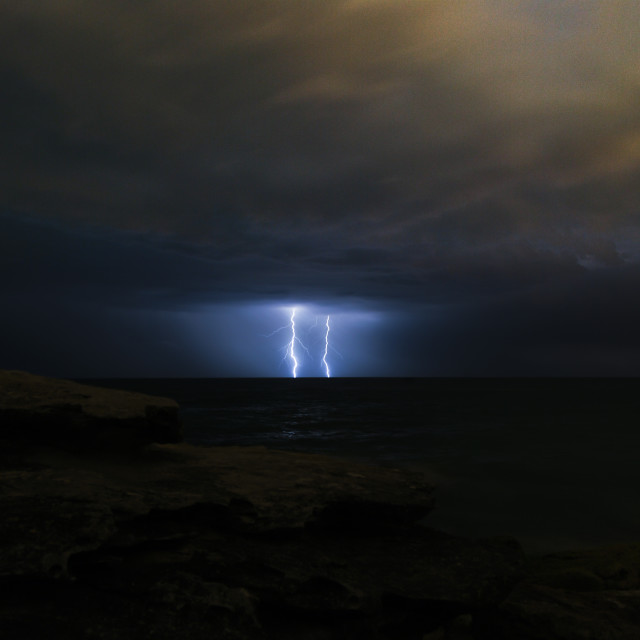 """Twin lightning strike"" stock image"