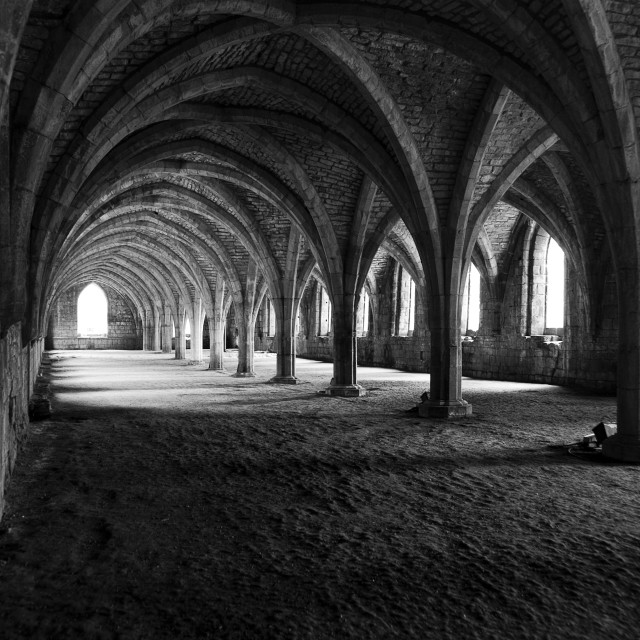 """Cellarium at Fountains Abbey, Yorkshire, UK"" stock image"
