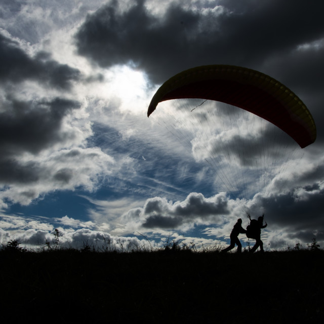 """Paraglider takeoff"" stock image"