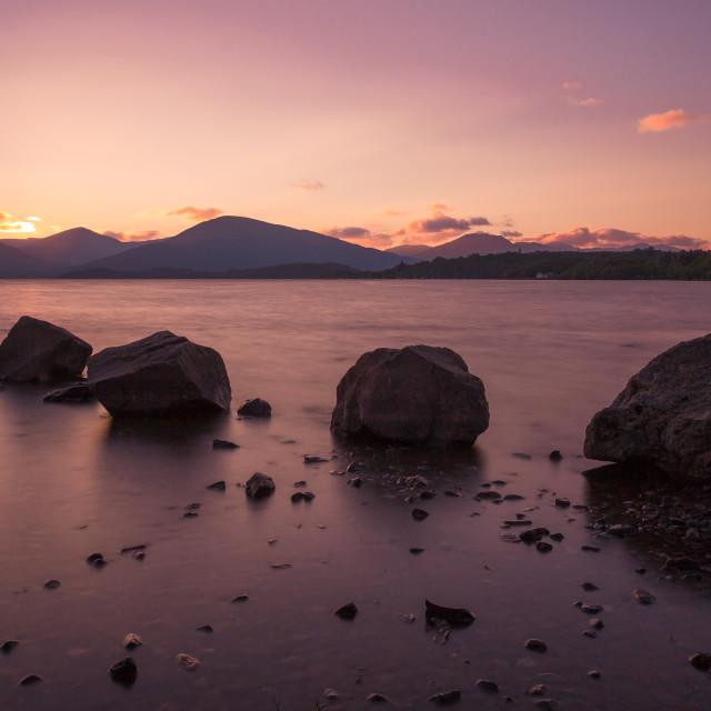 """Silky rocks, Loch Lomond"" stock image"