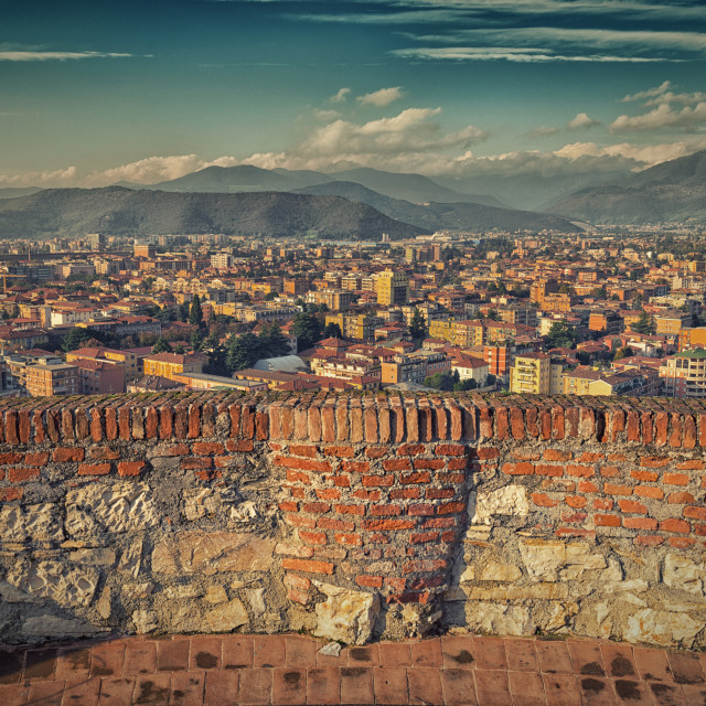"""Town view from the castle's tower"" stock image"