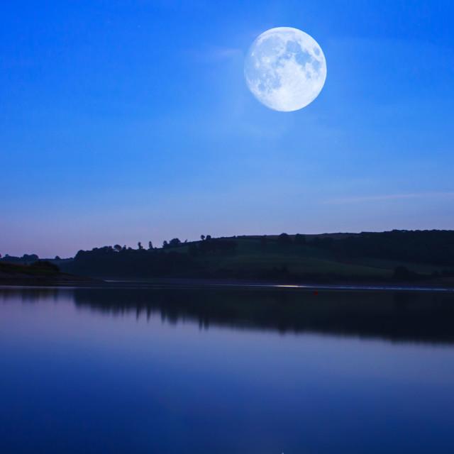 """Full Moon Over Wimbleball"" stock image"
