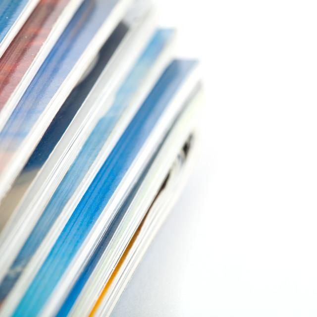 """""""Stack of magazines studio isolated on white"""" stock image"""