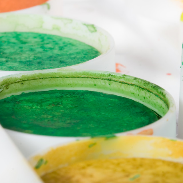 """""""Watercolor paints set close up photo with shallow DOF"""" stock image"""