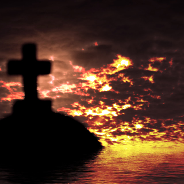 """""""Silhouette of a church in the sunset time"""" stock image"""