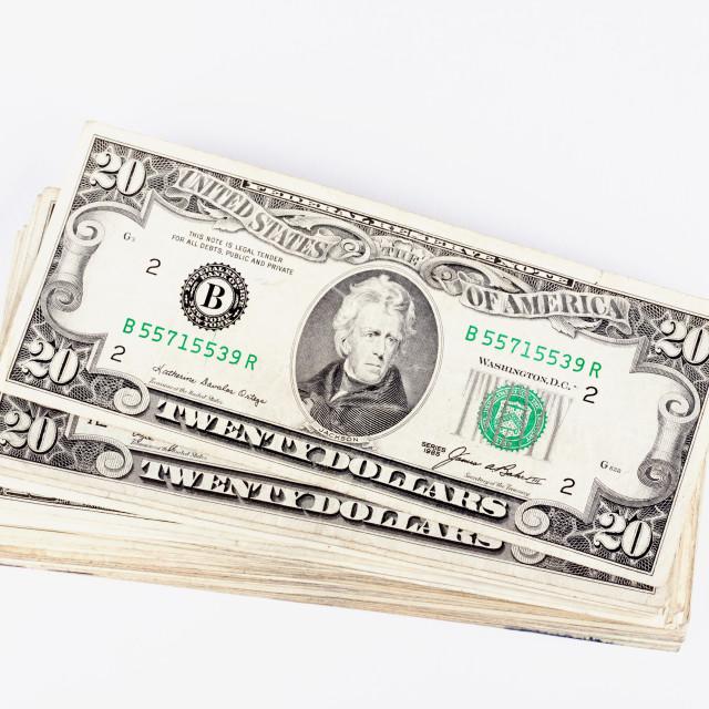 """""""Stack og Dollars bills studio isolated on white"""" stock image"""