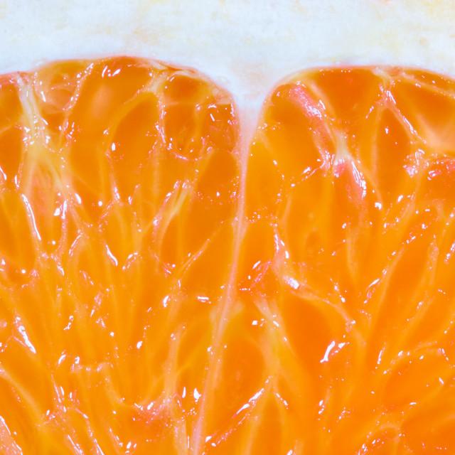 """Macro of a nice fresh juicy orange."" stock image"