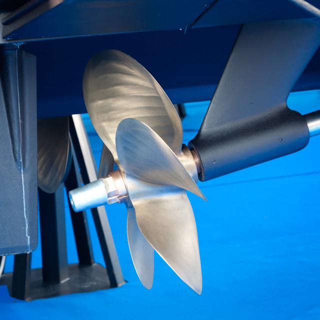 """""""Modern motor boat propeller detail"""" stock image"""