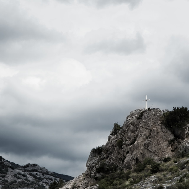 """""""Cross on the top of the mountain"""" stock image"""