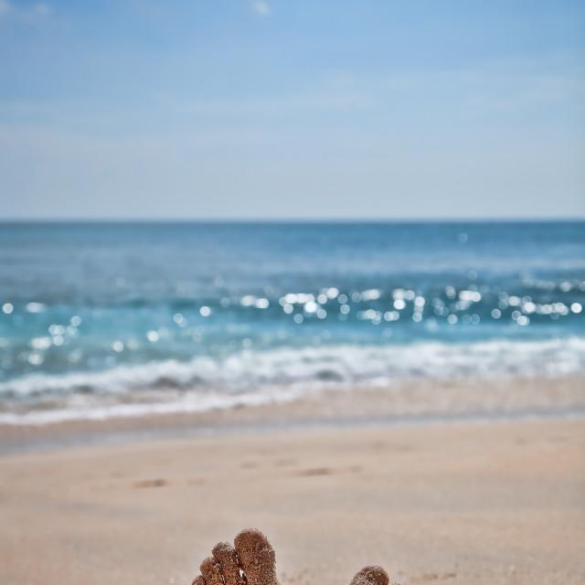 """""""Feet on a sand beach"""" stock image"""