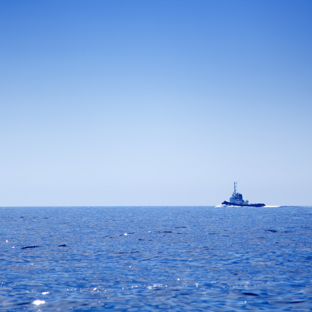 """Fishing-boat on open sea"" stock image"