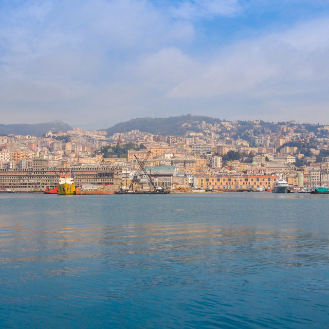 """""""View of Genoa Italy from the sea"""" stock image"""