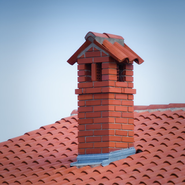 """Chimney at the roof"" stock image"