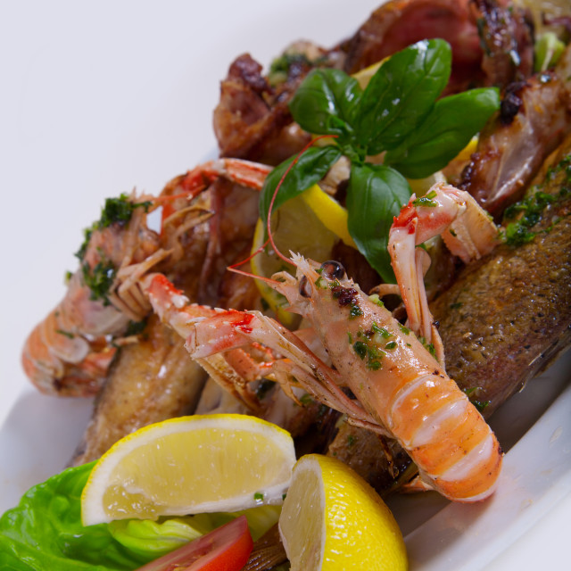 """Delicious fresh Adriatic seafood dish"" stock image"