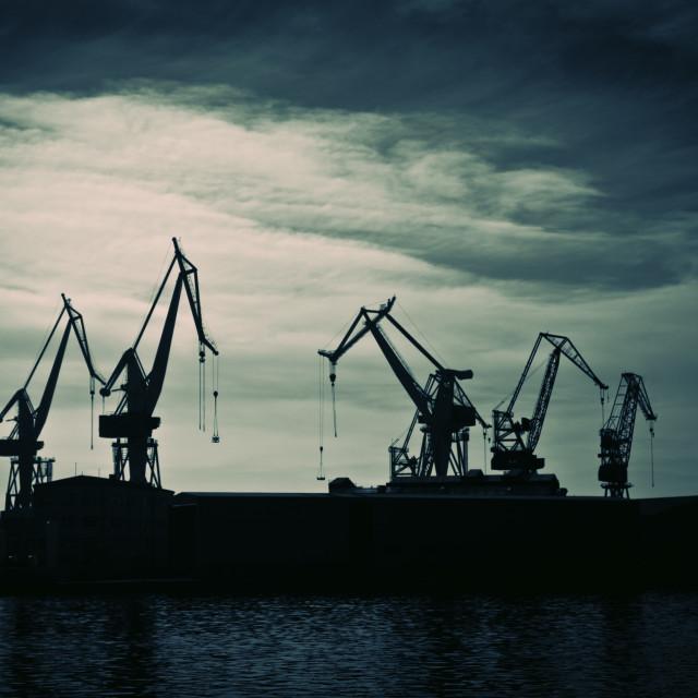 """Shipyard crane"" stock image"