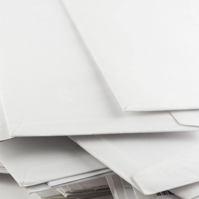 """Stack of envelopes close up"" stock image"