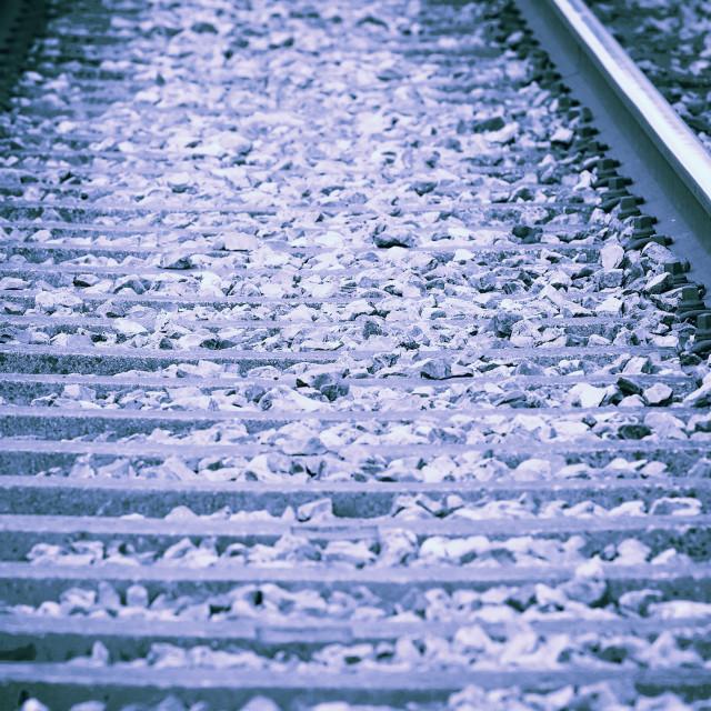"""Railway - retro style toned photo"" stock image"