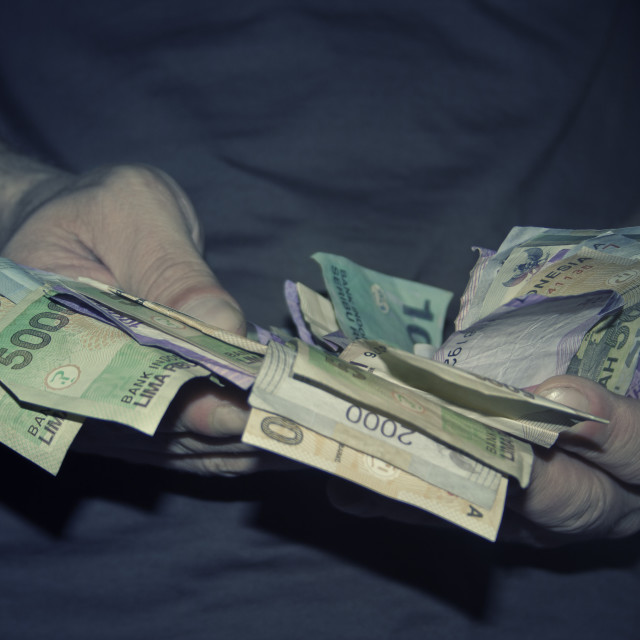 """Hands holding money"" stock image"