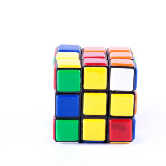 """Puzzle cube studio isolated"" stock image"