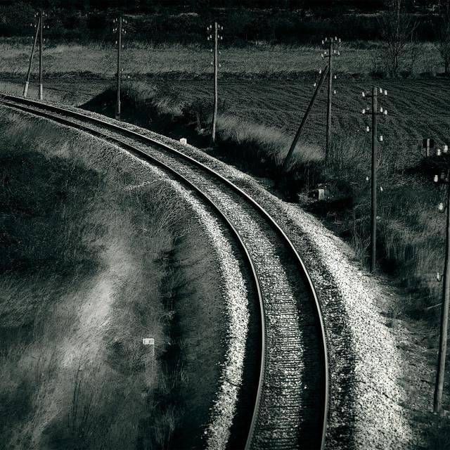"""Old railroad , artistic retro style toned photo"" stock image"