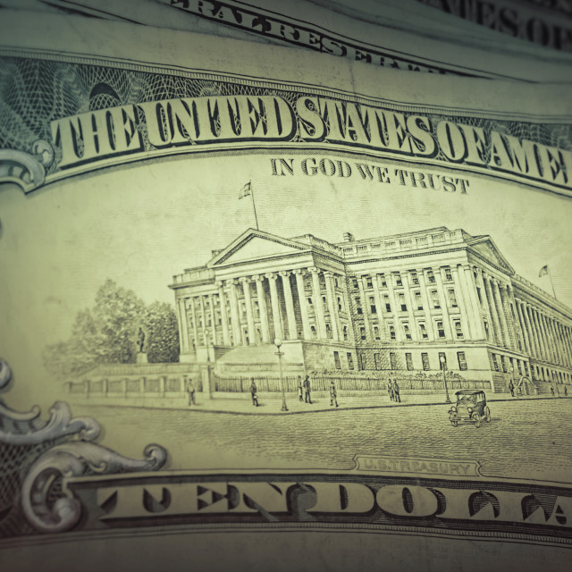 """US dollars background, retro style toned photo"" stock image"