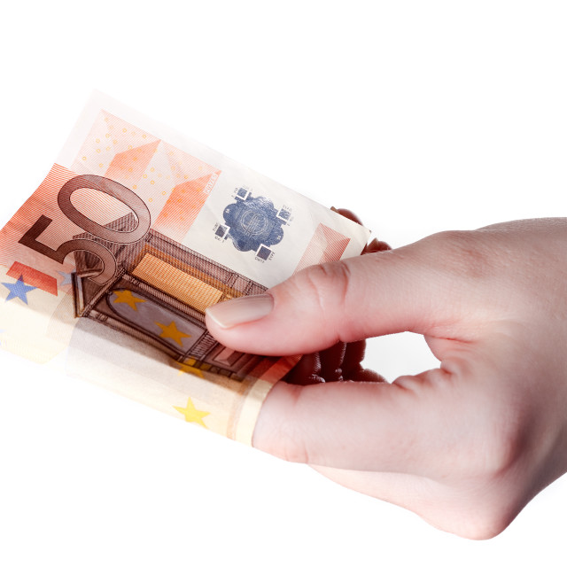 """Hand holding 50 Euro bill , paying concept"" stock image"